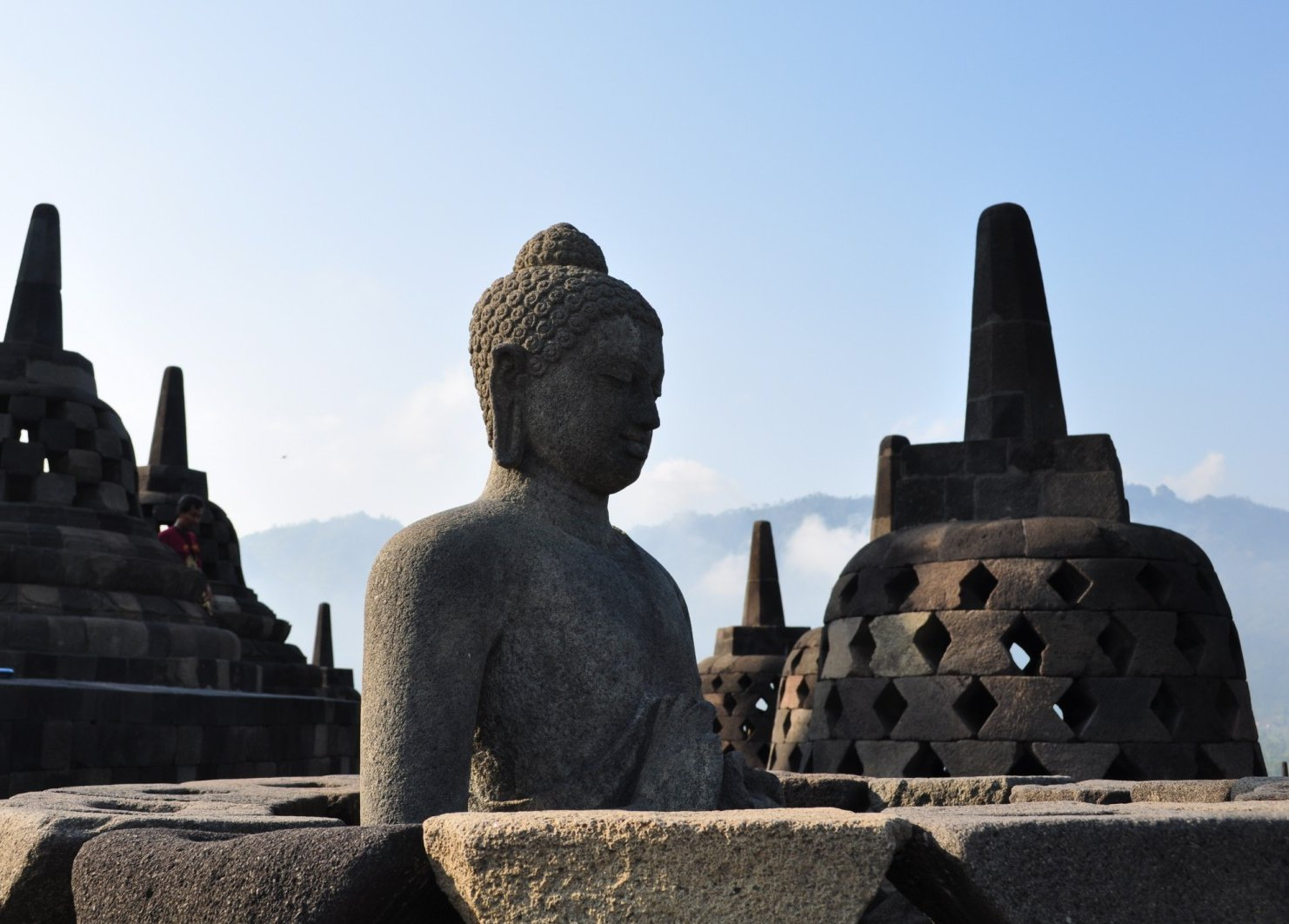 When you finally reach the top of Borobudur Temple, you feel the weight of the Temple lift off to reveal the open skies above.  It's a great sensation that's hard to capture by camera.