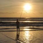 Fisherman at sunset in Bali