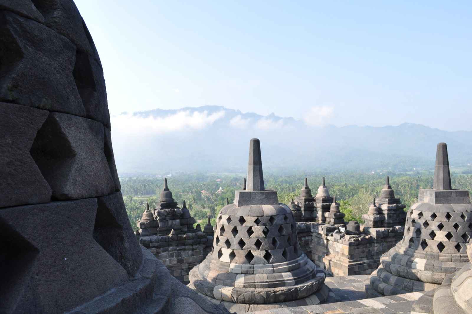 View atop Borobudur Temple in Indonesia